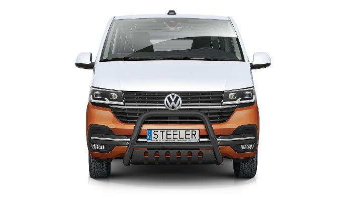 Frontschutzbügel Kuhfänger Bullfänger VW Transporter T6.1 2019-, Steelbar QFU 70mm, schwarz beschichtet