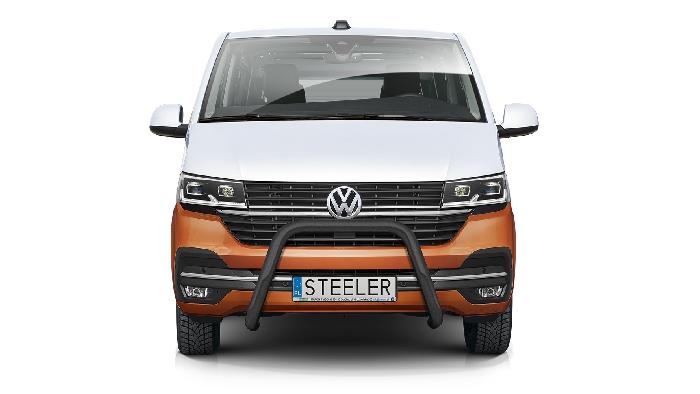 Frontschutzbügel Kuhfänger Bullfänger VW Transporter T6.1 2019-, Steelbar 70mm, schwarz beschichtet