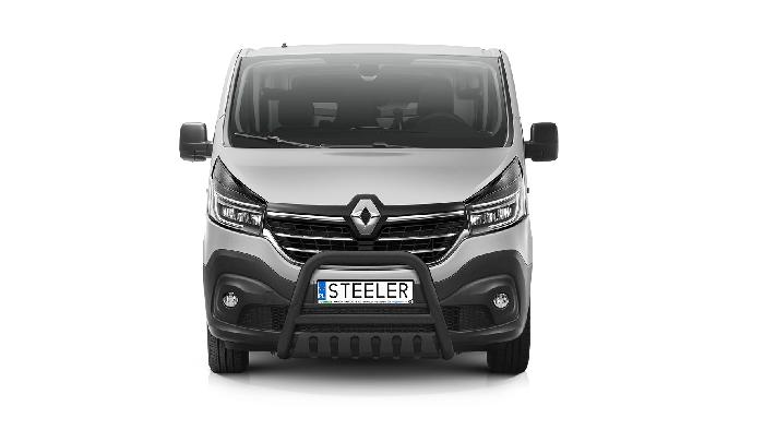 Frontschutzbügel Kuhfänger Bullfänger Renault Trafic 2019-, Steelbar QFU 70mm, schwarz beschichtet