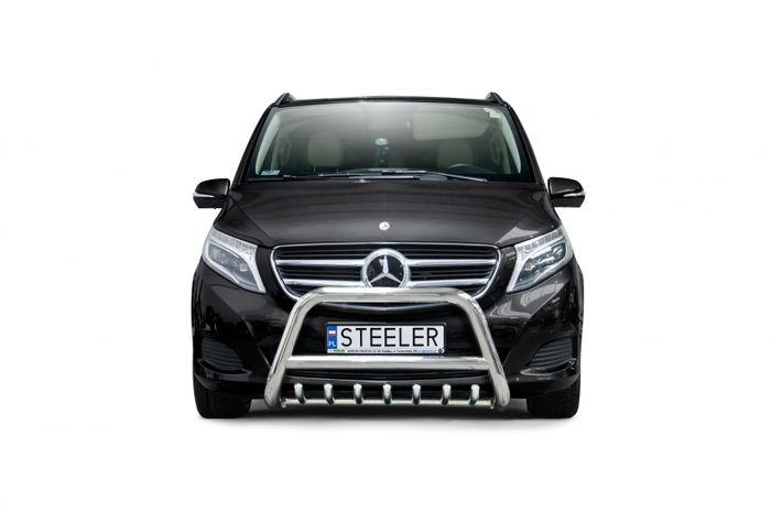 Frontschutzbügel Kuhfänger Bullfänger Mercedes V-Klasse 2014-, Steelbar QRU 70mm, schwarz beschichtet