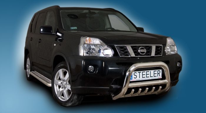 Frontschutzbügel Kuhfänger Bullfänger Nissan X-Trail 2007-2010, Steelbar QRU 70mm, schwarz beschichtet