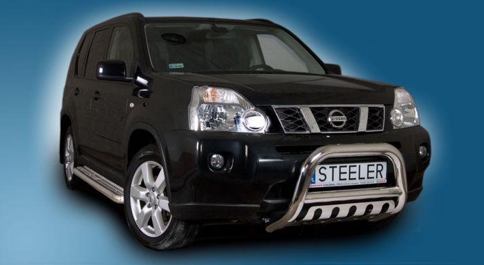 Frontschutzbügel Kuhfänger Bullfänger Nissan X-Trail 2010-2014, Steelbar QFU 70mm, schwarz beschichtet