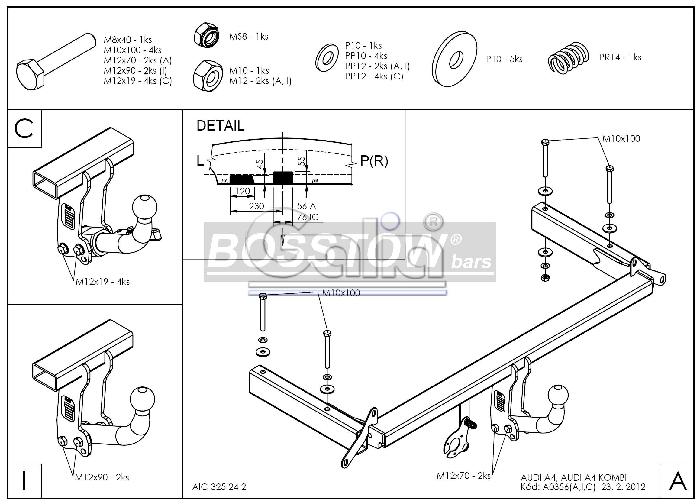Anhängerkupplung für Audi-A4 Avant - 1996-2001 Quattro Ausf.:  horizontal