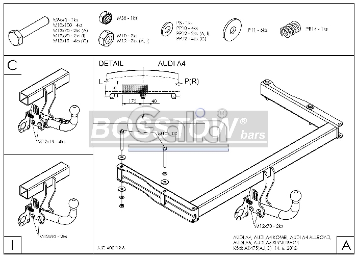 Anhängerkupplung für Audi-A4 Avant - 2008-2011 nicht Quattro, nicht RS4 und S4 Ausf.:  horizontal