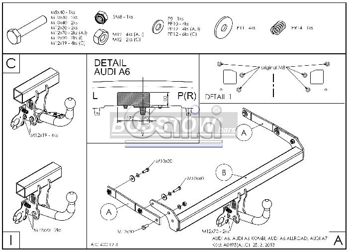 Anhängerkupplung für Audi-A6 Avant - 2011-2014 4G2/4G, C7, Quattro Ausf.:  horizontal