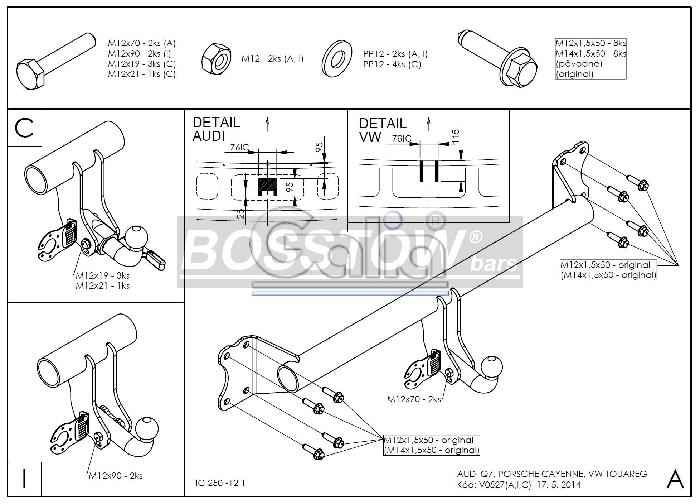 Anhängerkupplung für Audi-Q7 - 2006-2015 Ausf.:  horizontal