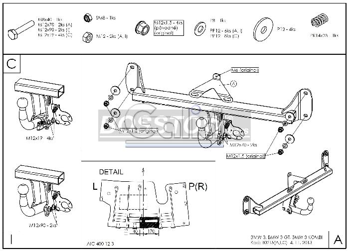 Anhängerkupplung für BMW-3er - 2012-2014 Limousine F30 Ausf.:  horizontal