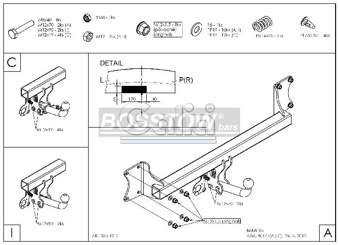 Anhängerkupplung für BMW-X5 - 2013- F15 Ausf.:  horizontal