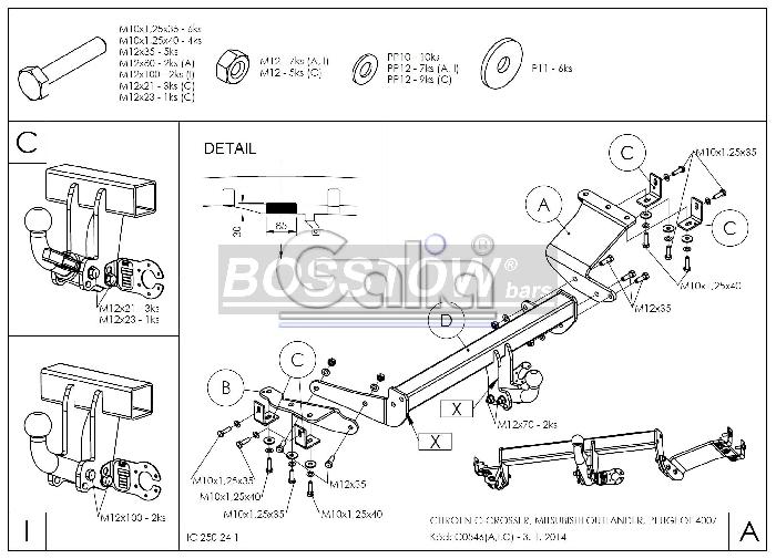 Anhängerkupplung für Citroen-C- Crosser - 2007- Ausf.:  horizontal