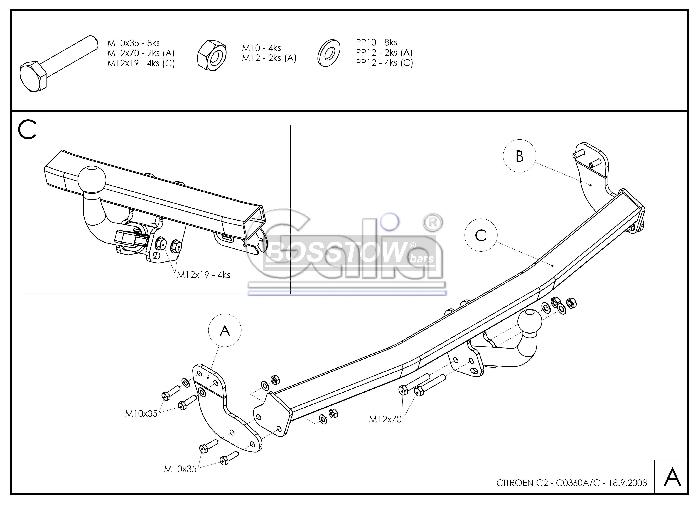 Anhängerkupplung für Citroen-C2 - 2005- Ausf.:  horizontal