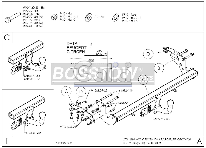 Anhängerkupplung für Citroen-C4 - 2012-2017 Aircross Ausf.:  horizontal