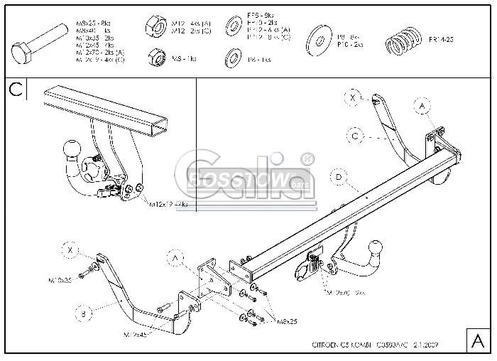 Anhängerkupplung für Citroen-C5 - 2008-2014 Kombi Ausf.:  horizontal