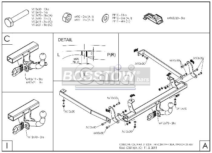 Anhängerkupplung für Citroen-C8 - 2005- Ausf.:  horizontal