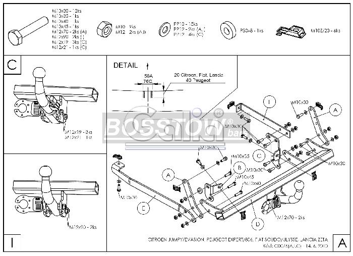 Anhängerkupplung für Citroen-Evasion - 1994-2002 U6 Ausf.:  horizontal