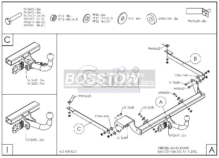 Anhängerkupplung für Citroen-Xsara - 2000- Kombi Ausf.:  horizontal