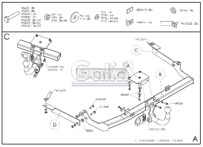 Anhängerkupplung für Citroen-Xsara - 2000- 3 u. 5 türig Ausf.:  horizontal