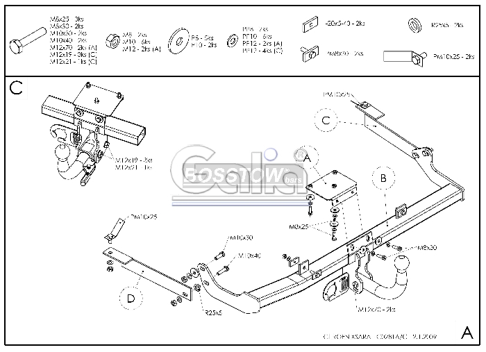 Anhängerkupplung für Citroen-Xsara - 1997-2000 Coupé Ausf.:  horizontal