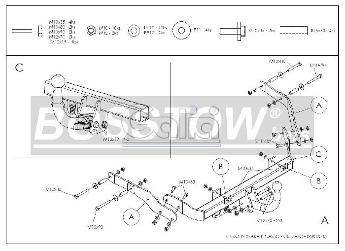 Anhängerkupplung für Citroen-Xsara - 2004- Picasso Ausf.:  horizontal