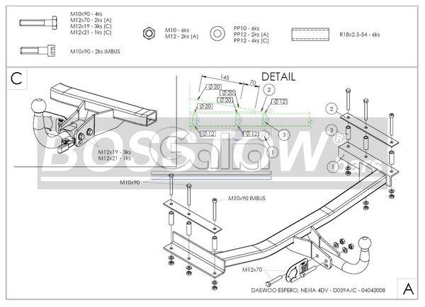 Anhängerkupplung für Daewoo-Espero - 1995-1997 Ausf.:  horizontal