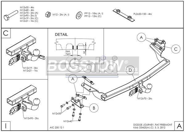 Anhängerkupplung für Dodge-Journey - 2008- Ausf.:  horizontal