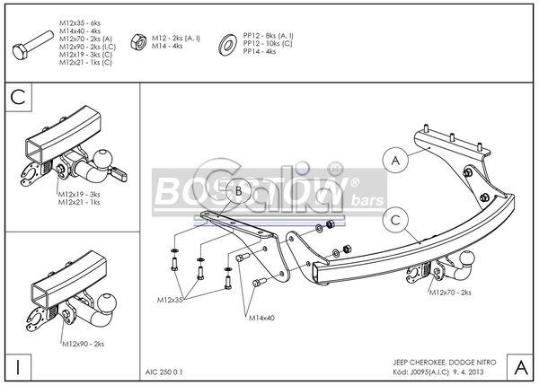 Anhängerkupplung für Dodge-Nitro - 2007- Ausf.:  horizontal