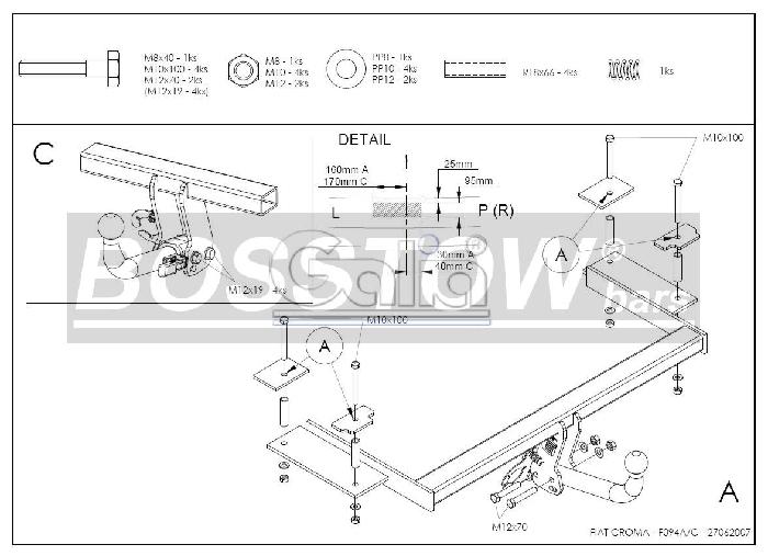 Anhängerkupplung für Fiat-Croma - 2005- II (194) Ausf.:  horizontal