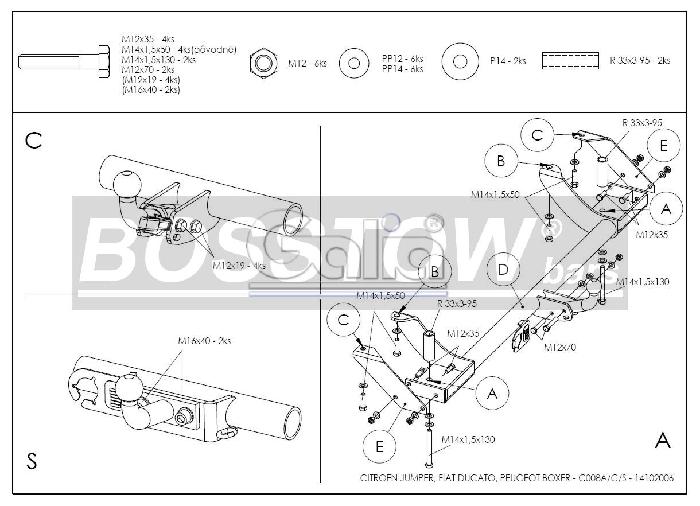 Anhängerkupplung für Fiat-Ducato - 2002-2006 Kasten/ Bus/ Kombi 2 WD Ausf.:  horizontal