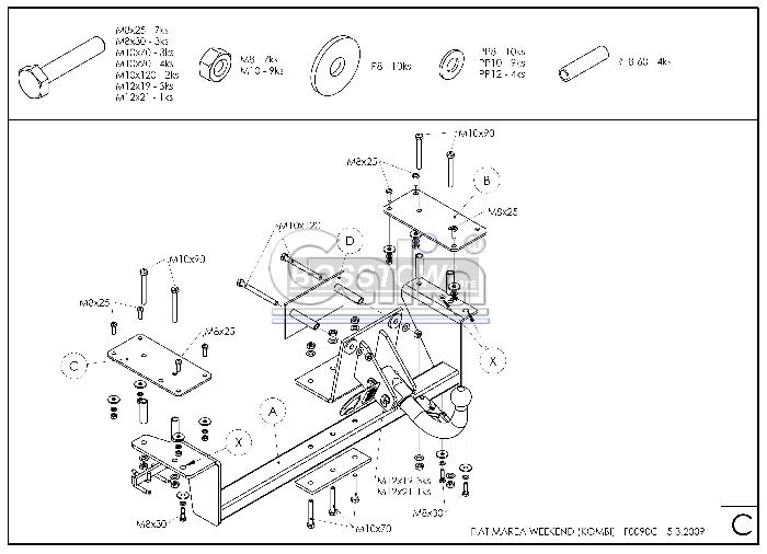 Anhängerkupplung für Fiat-Marea - 1996-2002 Kombi Weekend Ausf.:  horizontal