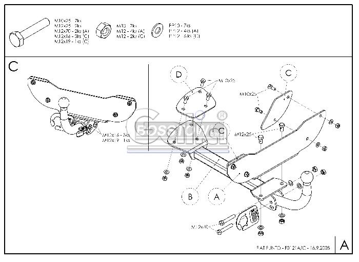 Anhängerkupplung für Fiat-Punto - 1993-1999 Fließheck Ausf.:  horizontal