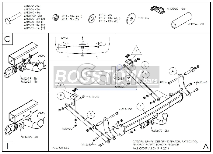 Anhängerkupplung für Fiat-Scudo - 2007- Kasten/ Bus/ Kombi, Fzg. mit Niveauregulierung, spez. auch mit Einparksensoren- PDC Ausf.:  horizontal