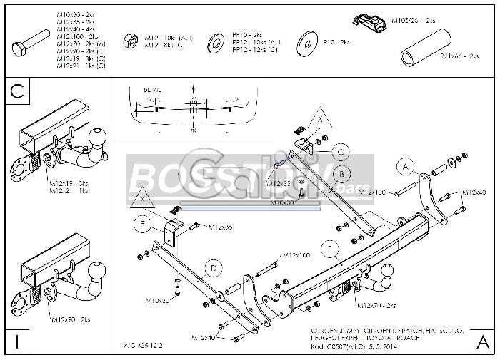 Anhängerkupplung für Fiat-Scudo - 2007- Kasten/ Bus/ Kombi, spez. auch mit Einparksensoren- PDC Ausf.:  horizontal