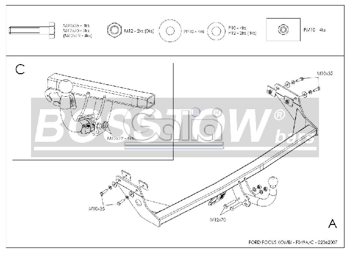 Anhängerkupplung für Ford-Focus - 1998-2003 Kombi, nicht RS Ausf.:  horizontal