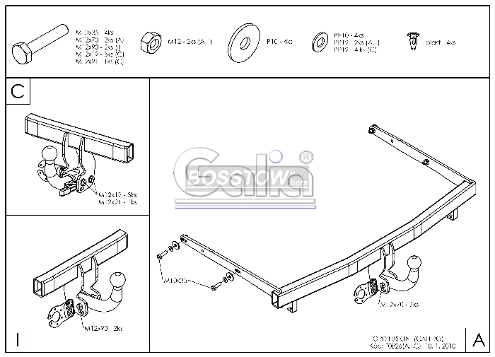 Anhängerkupplung für Ford-Fusion - 2010-2012 nicht Fzg. mit Einparksensoren- PDC Ausf.:  horizontal