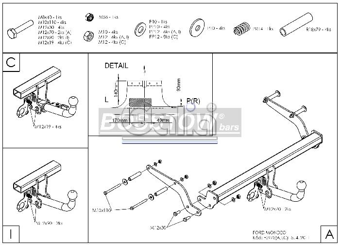 Anhängerkupplung für Ford-Mondeo - 2000-2007 Fließheck Lim 4x4, nicht RS,ST, nicht Titanium Ausf.:  horizontal