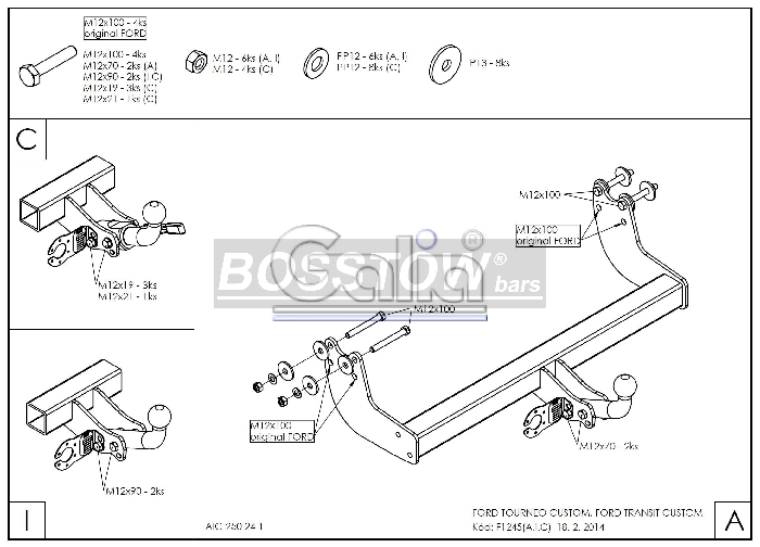 Anhängerkupplung für Ford-Tourneo Custom - 2012-2016 Ausf.:  horizontal