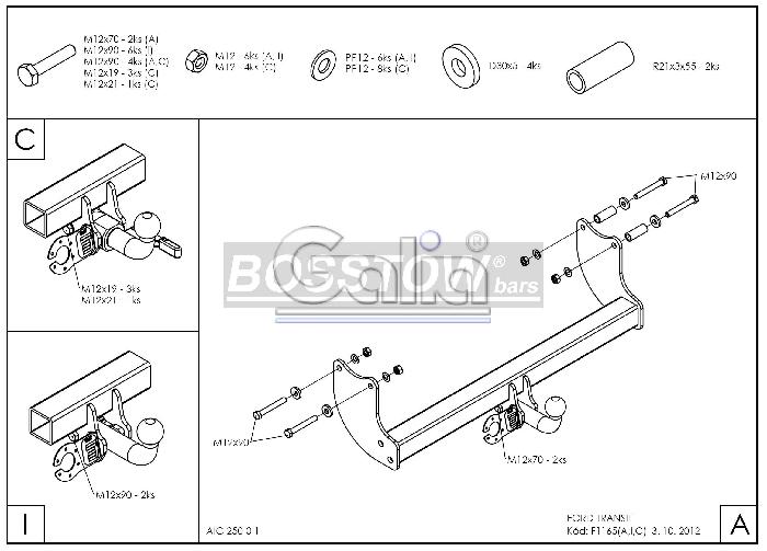 Anhängerkupplung für Ford-Transit Pritsche - 2000-2006 Ausf.:  horizontal