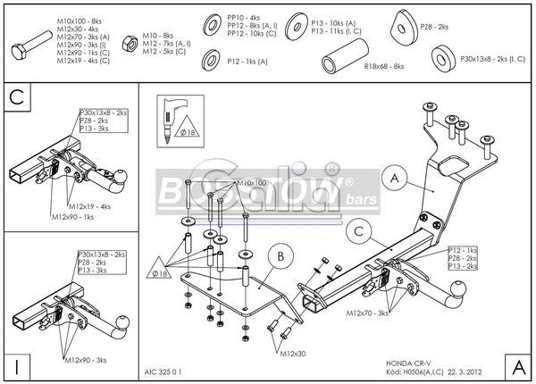 Anhängerkupplung für Honda-CR-V - 2002-2006 4X4 Ausf.:  horizontal
