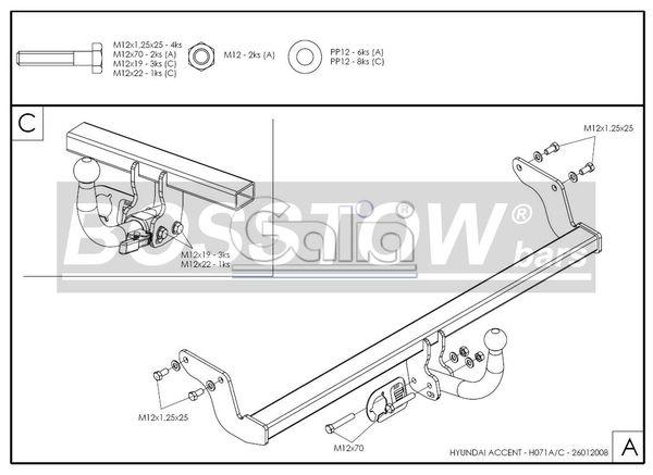 Anhängerkupplung für Hyundai-Accent - 2006- Fließheck Lim Ausf.:  horizontal