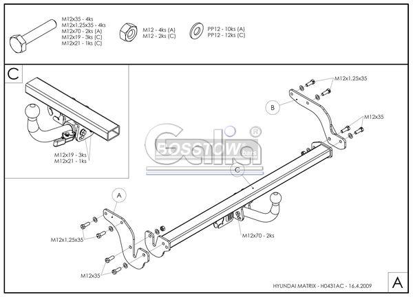 Anhängerkupplung für Hyundai-Matrix - 2009- Ausf.:  horizontal