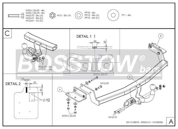 Anhängerkupplung für Kia-Carens - 2006-2013 III Ausf.:  horizontal