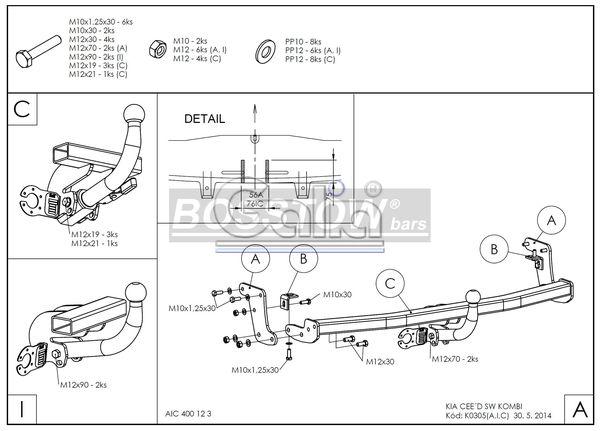 Anhängerkupplung für Kia-Cee`d - 2009-2011 Sporty Wagon Ausf.:  horizontal