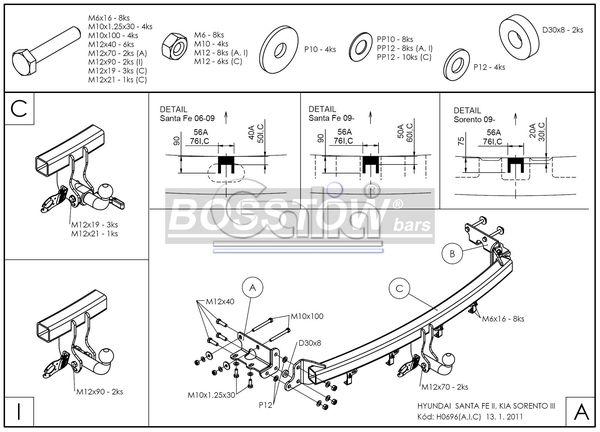 Anhängerkupplung für Kia-Sorento - 2009-2012 XM Ausf.:  horizontal