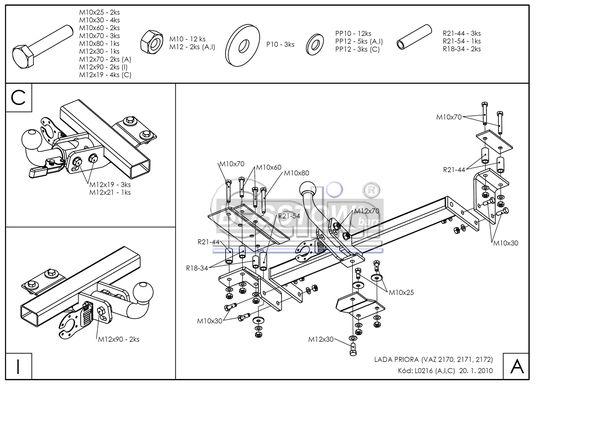 Anhängerkupplung für Lada-Priora - 2009- 2171 Kombi Ausf.:  horizontal