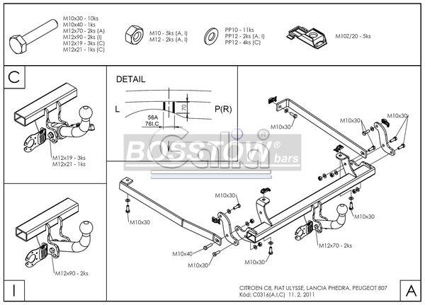 Anhängerkupplung für Lancia-Phedra - 2002-2005 Ausf.:  horizontal