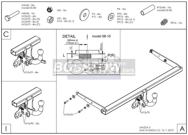 Anhängerkupplung für Mazda-5 - 2009-2011 Ausf.:  horizontal