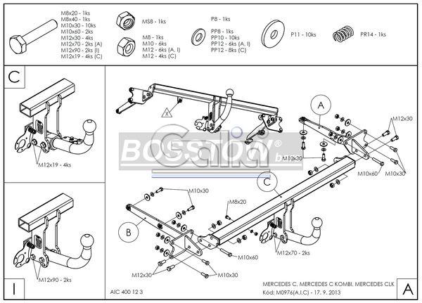 Anhängerkupplung Mercedes-C-Klasse Kombi W203, Baujahr 2001-2005 Ausf.:  horizontal