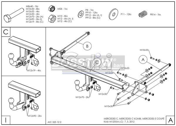 Anhängerkupplung für Mercedes-C-Klasse - 2007-2011 Lim. W204 Ausf.:  horizontal