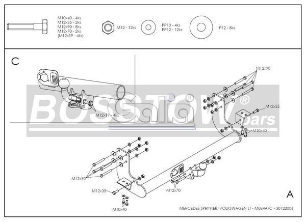 Anhängerkupplung für Mercedes-Sprinter Kastenwagen Heckantrieb - 2000-2006 408-416, Radstd. 4,025 m, Fzg. ohne Trittbrettst. Ausf.:  horizontal