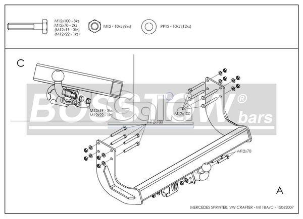 Anhängerkupplung für Mercedes-Sprinter - 2006-2018 409-424, Kasten, Radstd. 4325mm, Fzg. ohne Trittbrettst. Ausf.:  horizontal