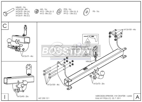 Anhängerkupplung für Mercedes-Sprinter Pritsche Heckantrieb - 2006-2018 510-524, Radstd. 3250mm Ausf.:  horizontal